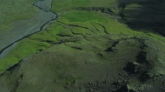 Aerial View of Fertile Plains & Active Eyjafjallajokull, Iceland Stock Footage