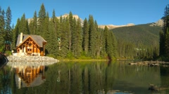 Cabin on Emerald Lake, late afternoon Stock Footage