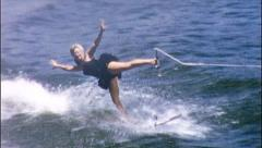 SKIING BALLERINA Girl Stunt Waterski Show 1950s Vintage Film Home Movie 566 Stock Footage