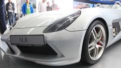 Motor show. Mercedes-Benz SLR McLaren Stirling Moss - stock footage