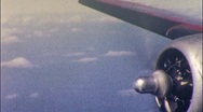 Stock Video Footage of Plane Prop Engine Flying AIRLINE TRAVEL 1950s (Vintage Film 8mm Home Movie) 571