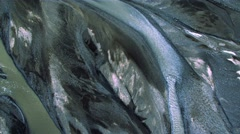 Aerial View of Glacial Rivers in Volcanic Landscape, Iceland Stock Footage