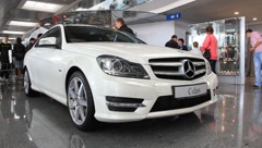 Stock Video Footage of Motor show. Mercedes-Benz C-class