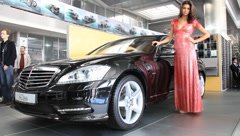 Stock Video Footage of Motor show. Mercedes-Benz S-class