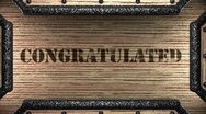 Congratulated on wooden stamp Stock Footage