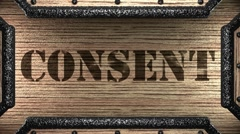 Stock Video Footage of consent on wooden stamp