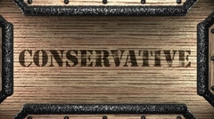 conservative on wooden stamp - stock footage