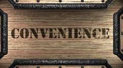 convenience on wooden stamp - stock footage