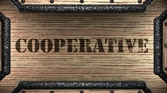 cooperative on wooden stamp - stock footage