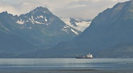 Oil Tanker and Glaciers Mountains - zoom out 1 Stock Footage