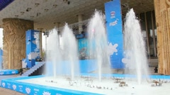 Fountains of milk. Milk Festival in Russia Stock Footage