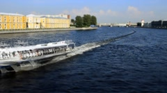 Tour hydrofoil ship on the Neva, St. Petersburg, Russia Stock Footage