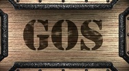 Gos on wooden stamp Stock Footage