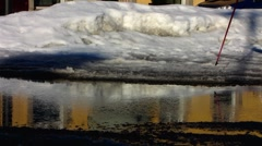 Scandinavia Finland Rauma Nordic walking on ice - stock footage