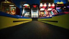 Colorful path with red bulbs to slot machine, child slots Stock Footage
