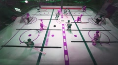 Play in toy table hockey game at supermarket Stock Footage