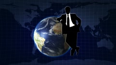 Earth Background and Businessman - HD1080 Stock Footage