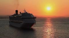 Cruiseship in sunset - stock footage