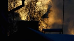 Scandinavia Finland steam smoke from Chimney Stock Footage