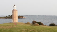 Lighthouse on Long Island Sound Stock Footage