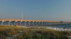 Dan Russell Pier at sunset in Panama City Beach Stock Footage