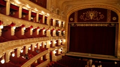 Classical theater interior with red seat and number Stock Footage