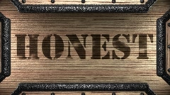 Honest on wooden stamp Stock Footage