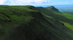 Aerial View of Mountain Ridges & Fertile Plains, Iceland Stock Footage