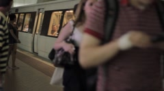Stock Footage - People getting on D.C. Metro Rail - stock footage