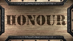 Honour on wooden stamp Stock Footage
