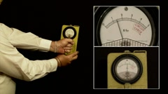 The Geiger Radioactivity Counter - Cold War Era Civil Defence Meter Stock Footage