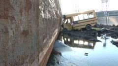 Extreme Hurricane Katrina Bus Damage Stock Footage