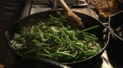 Cooking green beans Stock Footage