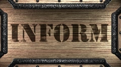 Inform on wooden stamp Stock Footage