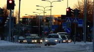 Stock Video Footage of Scandinavia Finland Rauma traffic in winter snow