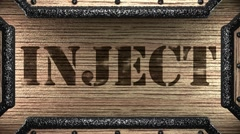 inject on wooden stamp - stock footage