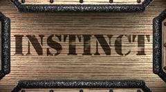 instinct on wooden stamp - stock footage