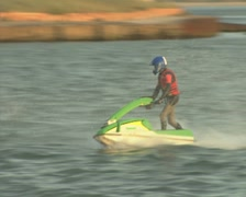 Jet Ski races across the water Stock Footage