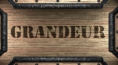grandeur on wooden stamp - stock footage