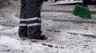 Scandinavia Finland man shoveling scraping hitting frozen ice on steps Stock Footage