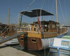 Gulet moored in harbour Stock Footage