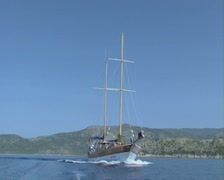 Gulet sailing through the water Stock Footage