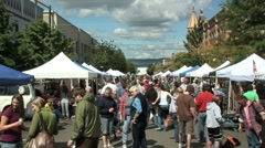 Farmers market crowd - stock footage