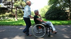Mobility with wheelchair Stock Footage