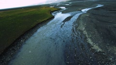 Aerial View of Glacial Meltwater in River Deltas, Arctic  Stock Footage