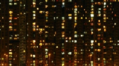 Hong Kong apartments at night  003 Stock Footage