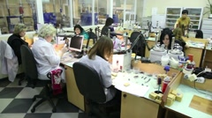 Several women in workplace at Estet Jewelry House manufacturing Stock Footage