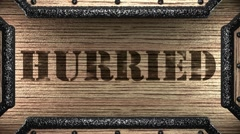 Hurried on wooden stamp Stock Footage