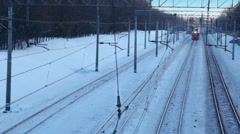 One train rides by rail, second appeared in the distance Stock Footage