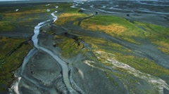 Aerial View of Fertile Land in Arctic Meltwater, Iceland Stock Footage